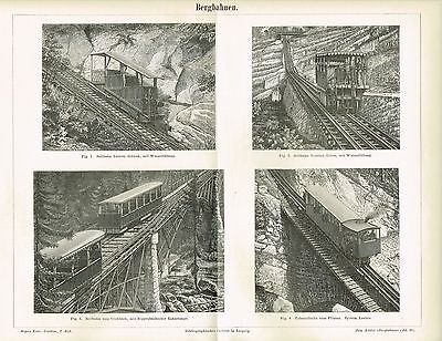 Tafel SEILBAHN / ZAHNRADBAHN / BERGBAHN / EISENBAHN, 1892 Original-Holzstich