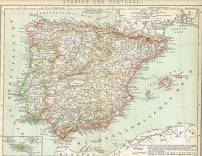 Karte von SPANIEN und PORTUGAL 1895 Original-Graphik