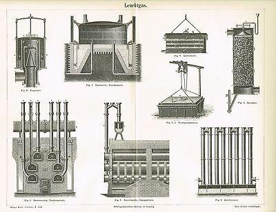 Tafel LEUCHTGAS / GASOMETER 1890 Original-Holzstich