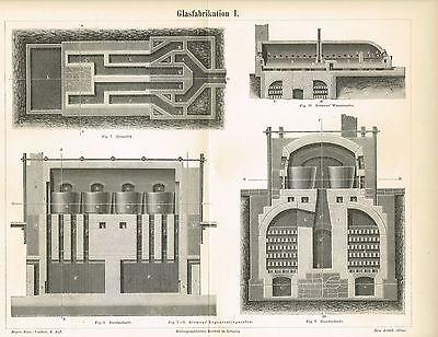 Tafel GLASHERSTELLUNG / GLAS / OFEN 1889 Original-Holzstich