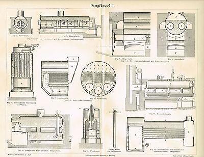 Tafel DAMPFKESSEL / FLAMMROHRKESSEL / SCHIFFSDAMPKESSEL 1886 Original-Holzstich