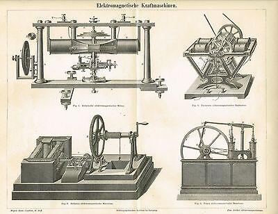 Tafel ELEKTROMOTOR / ELEKTROMAGNETISMUS / HELMHOLTZ 1886 Original-Holzstich