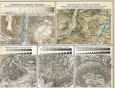 Tafel KARTOGRAPHIE / TERRAINZEICHNUNG / KARTENZEICHNUNG 1895 Original-Graphik