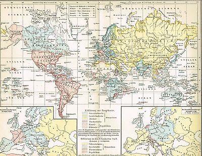 Karte VERTEILUNG DER STAATSFORMEN AUF DER ERDE 1895 Original-Graphik