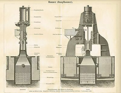Tafel DAMPFHAMMER / HAMMER 1887 Original-Holzstich