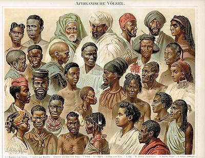 Tafel VÖLKERKUNDE / AFRIKA / AFRIKANISCHE VÖLKER 1885 Orig.-Lithographie