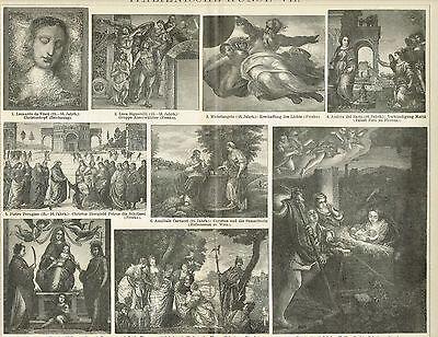 Tafel ITALIENISCHE MALEREI / LEONARDO / MICHELANGELO / 1894 Original-Holzstich
