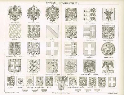 Tafel WAPPEN / STAATSWAPPEN 1890 Original-Holzstich