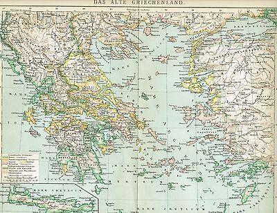 Karte DAS ANTIKE GRIECHENLAND / KRETA 1894 Original-Graphik