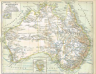 Karte von AUSTRALIEN 1888 Original-Graphik