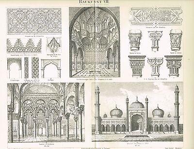 Tafel ARCHITEKTUR / ISLAM / MOSCHEE CORDOBA / ALHAMBRA 1888 Original-Holzstich