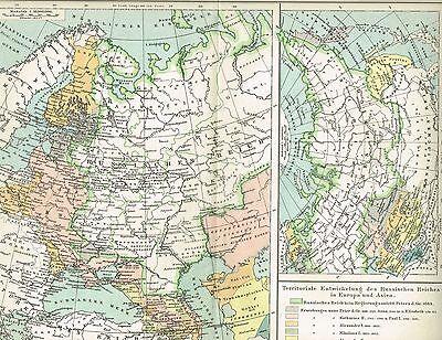 Historische Karte von RUSSLAND 1895 Original-Graphik