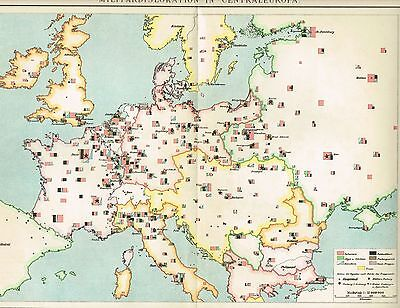 MILITÄRKARTE von EUROPA / GARNISONEN / FESTUNGEN 1894 Original-Graphik