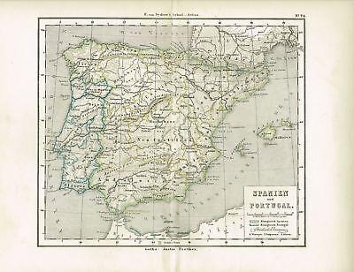 Karte von SPANIEN und PORTUGAL, Original-Graphik 1876