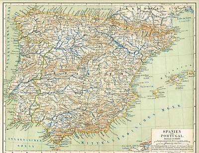 Karte von SPANIEN und PORTUGAL 1889 Original-Graphik