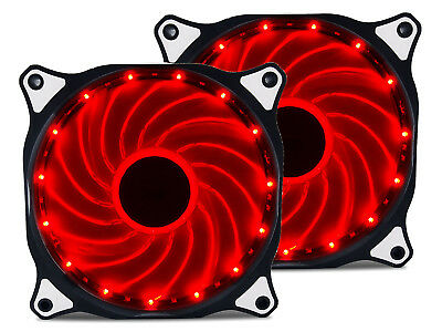 2x 120mm RED Vetroo LED Computer PC Case Cooler CPU Radiators Cooling Fan  (Led Fans)