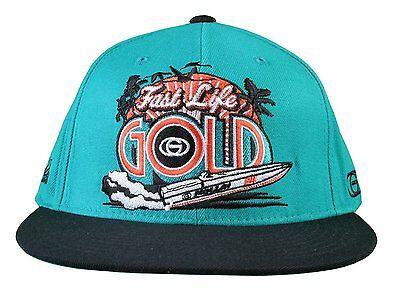 e9611d31dfa83 Gold M.V.P. Turquoise Black Fast Life Miami Starter Snapback Baseball Cap  Hat NW