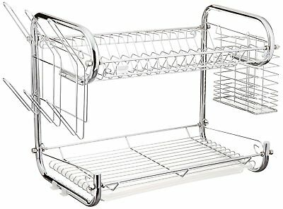 Uniware 16 Inch Double Dish Rack with Glass and Utensil Holder for sale  Shipping to India
