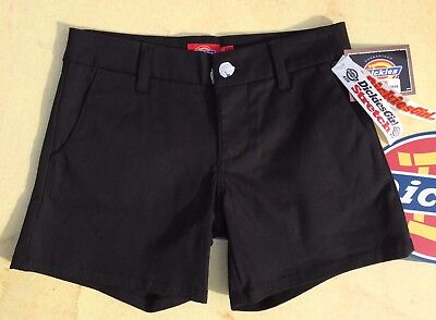 New DICKIES Girl Womens Stretch Shorts NHH6016 5IN Black Size - Dickies Girl Stretch Shorts