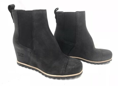 UGG Australia Women's Pax Chelsea Wedge Boots Black Leather