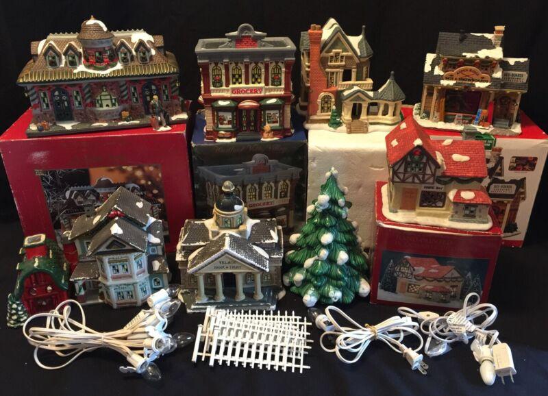 "Ceramic CHRISTMAS VILLAGE 8 Buildings- SHOPS Homes BANK Train Station & 10"" Tree"