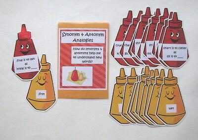 Teacher Made Literacy Center Learning Resource Game Synonym & Antonym Analogies (Game Synonym)