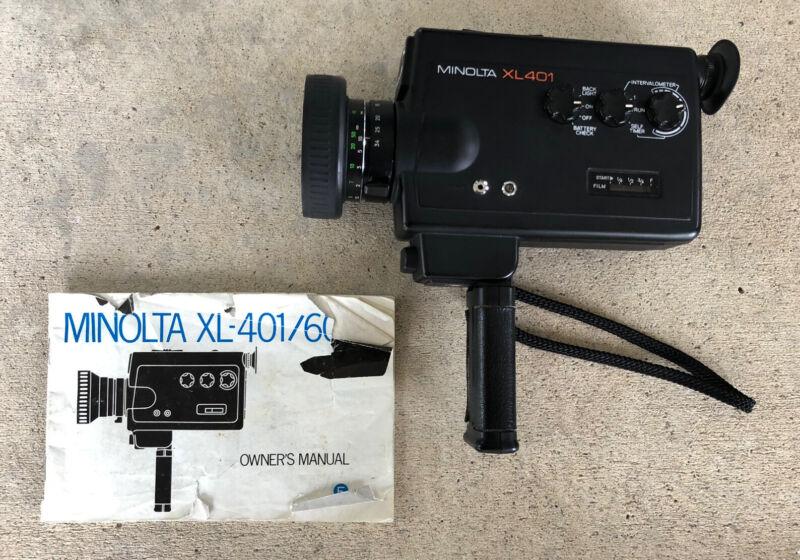 Vintage Minolta XL-401 Super 8 Video Movie Camera TESTED w/Manual
