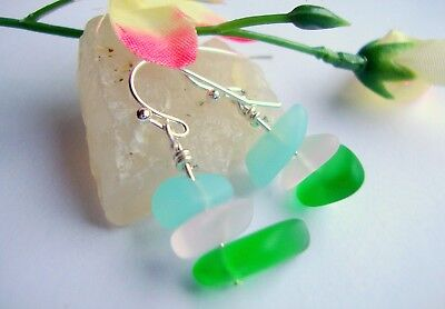 Frosted Beach Sea Glass Tumbled Pink Green Blue Silver Earrings USA HANDMADE