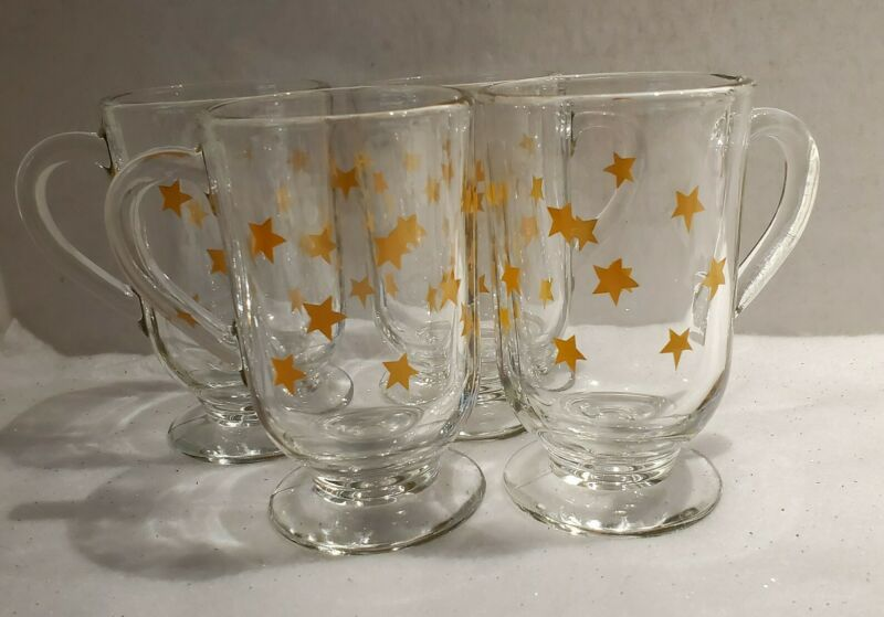 4 Libbey Clear Glass Yellow Stars Pedestal Cups Mugs
