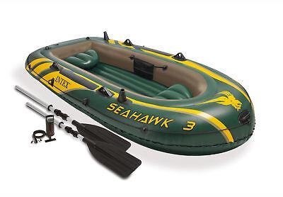 Intex Seahawk 3 Inflatable Raft River Lake Dinghy Boat Pump   Oars Set 68380Ep