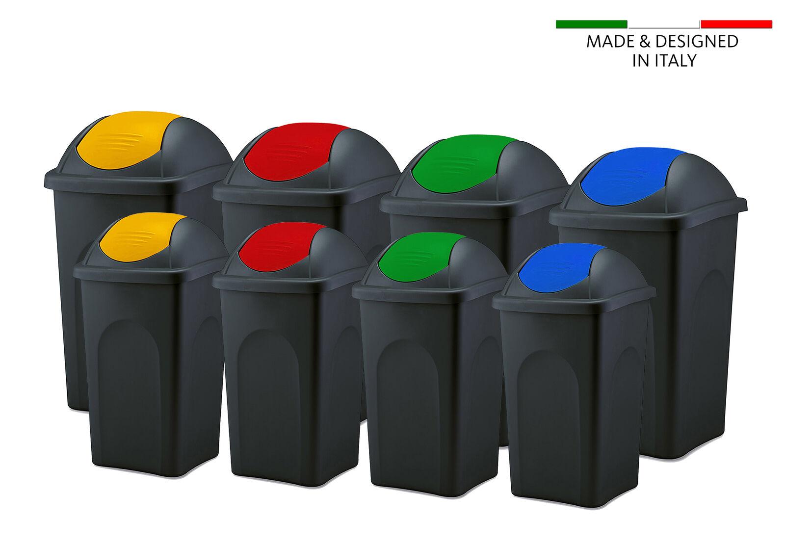 Mülleimer mit Schwingdeckel Abfall Sammler Behälter Mülltonne Papierkorb schwarz