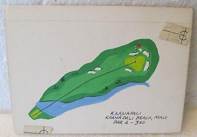 ORIGINAL GOUACHE ART-PAR 4 3rd KAANAPALI BEACH-FOR A GOLF MAGAZINE ARTICLE   for sale  Shipping to Canada