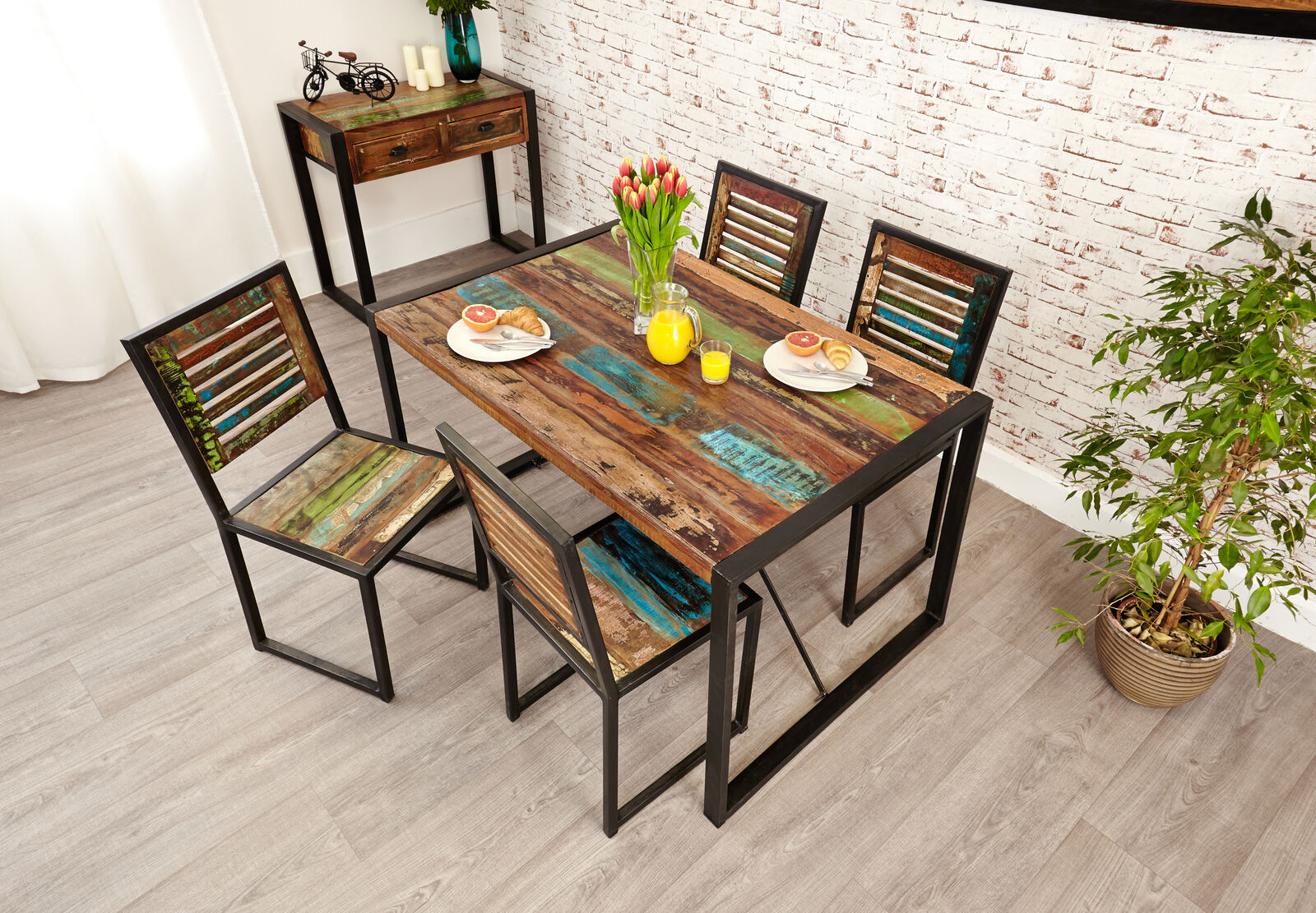 Urban Chic Reclaimed Wood Dining Table Only Rectangle Small 4 Seater Steel Frame