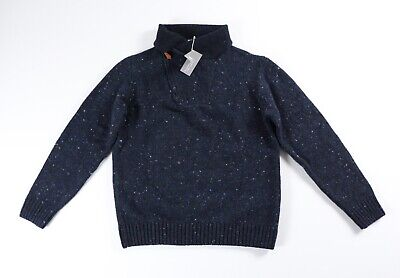 Inis Meain Donegal Cashmere Sweater M Medium Blue NWT $550