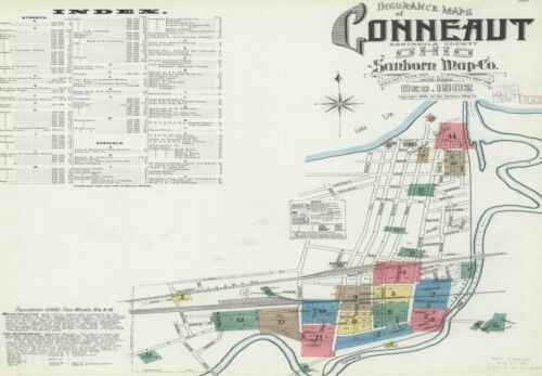 Conneaut, Ohio Sanborn map sheets in color made 1884 to 1893 in COLOR