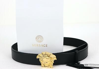 Authentic Versace Classic Black Leather Gold Medusa Buckle Belt 110/44 38-40