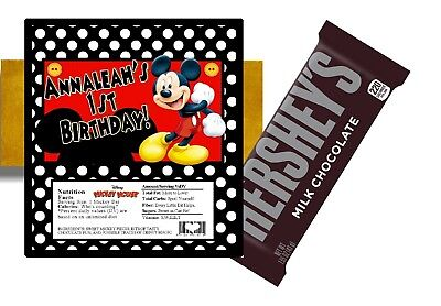 10 MICKEY MOUSE BIRTHDAY HERSHEY BAR WRAPPERS PARTY FAVORS PERSONALIZED w/ - Personalized Hershey Bar Wrappers