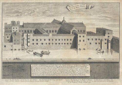 1750 Vertue Print of Savoy Hospital, London