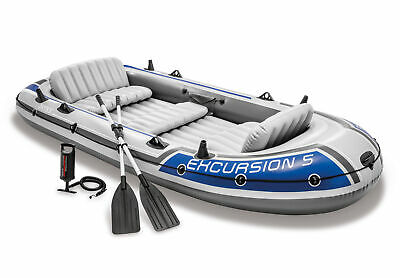 Intex Excursion 5 Person Inflatable Boat Set Raft Dinghy with Oars Pump 68325EP
