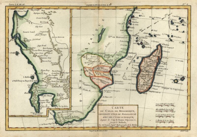 Southern Africa Madagascar Cape Good Hope 1780 Bonne lovely engraved colored map
