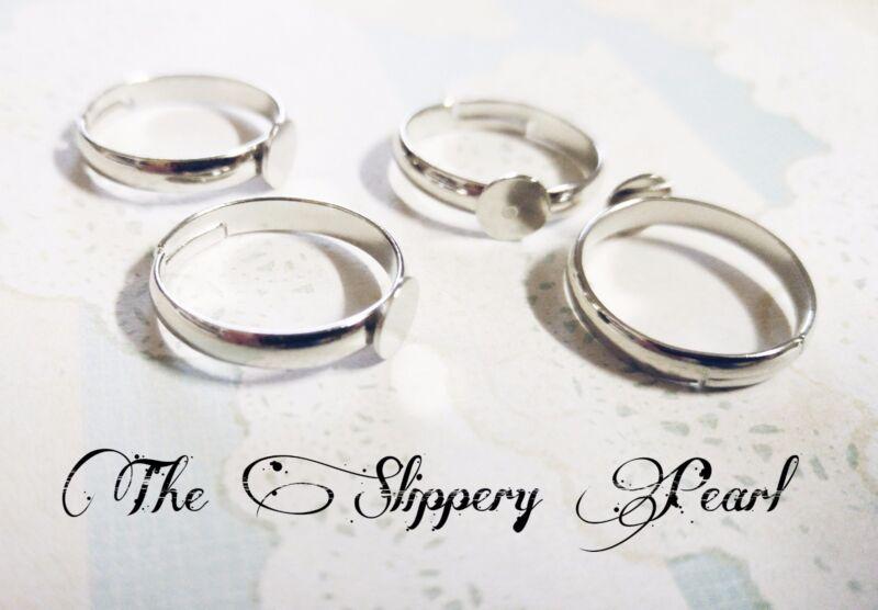 Silver Ring Blanks Adjustable Blank Rings Glue on Ring Settings Brass 5/10