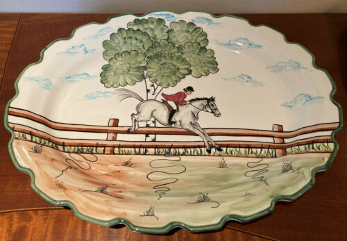 "CE Corey ""Perfect Day"" Equestrian Serving Platter - 18""  Handpainted - Portugal"