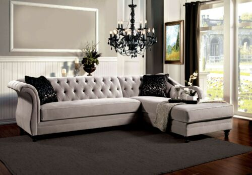 Living Room Sectional Cushion Button Tufted Fabric Sofa Chaise Warm Gray Couch