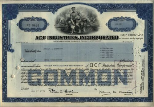 ACF Industries, Incorporated Stock Certificate American Car & Foundry