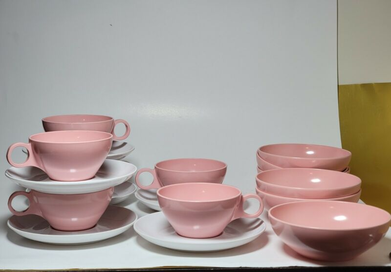 """Lot of 6 each MCM Prolon Melmac 5.5"""" Dinnerware Bowls, Tea Cups and Saucers PINK"""