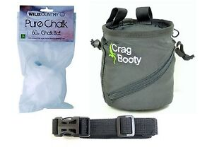 Rock Climbing Chalk Bag with belt with FREE CHALK BALL Crag Booty Black
