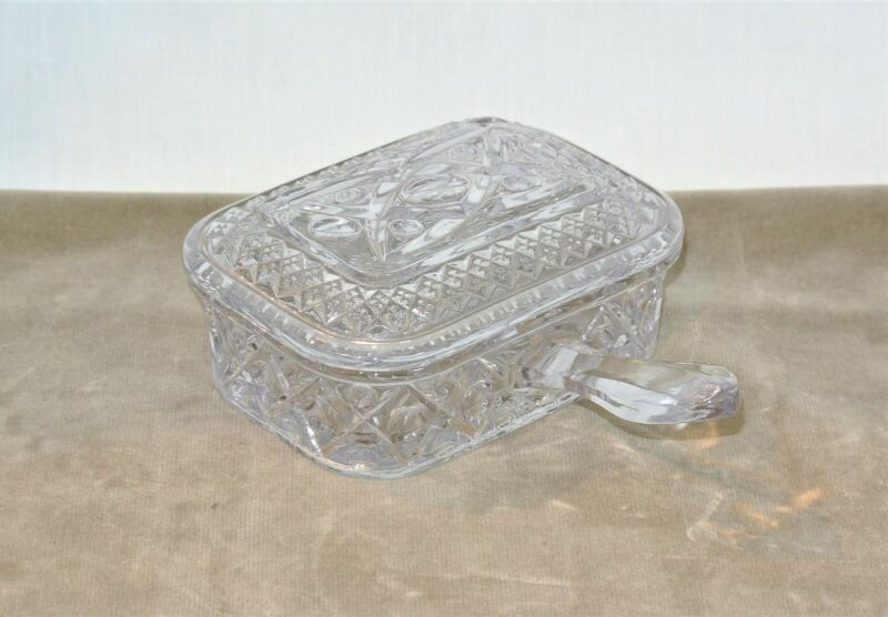 CADE COD Imperial Glass Covered CIGARETTE BOX with Handle Vintage
