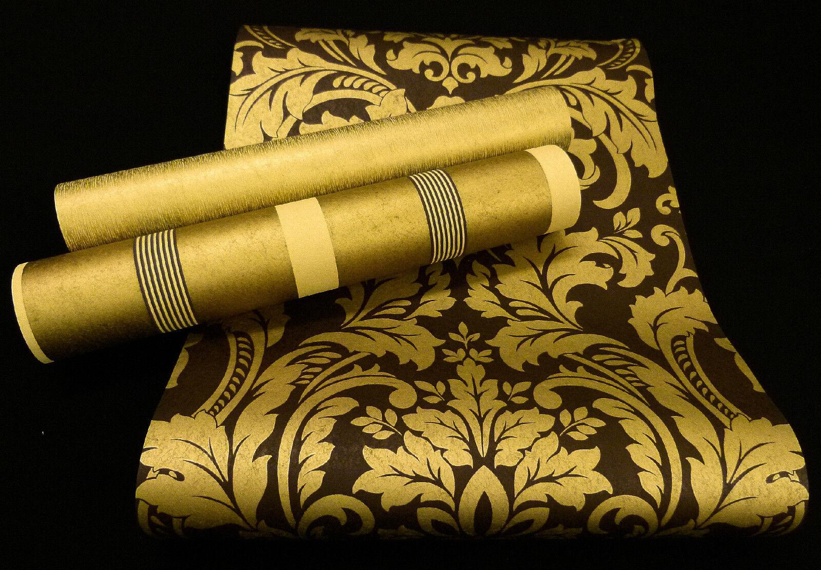 """13233-) hochwertige Vliestapete """"Artemis"""" Barock Design Tapete gold und braun"""