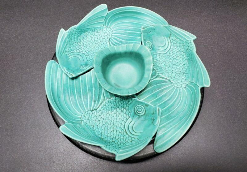 Jae of California - Complete Vintage 1955 Turquoise Koi Fish Ceramic Lazy Susan