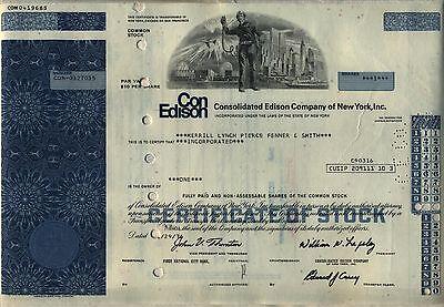 Consolidated Edison Stock Certificate Con Ed New York WTC